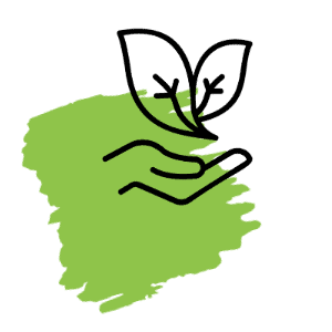 icône main et feuille