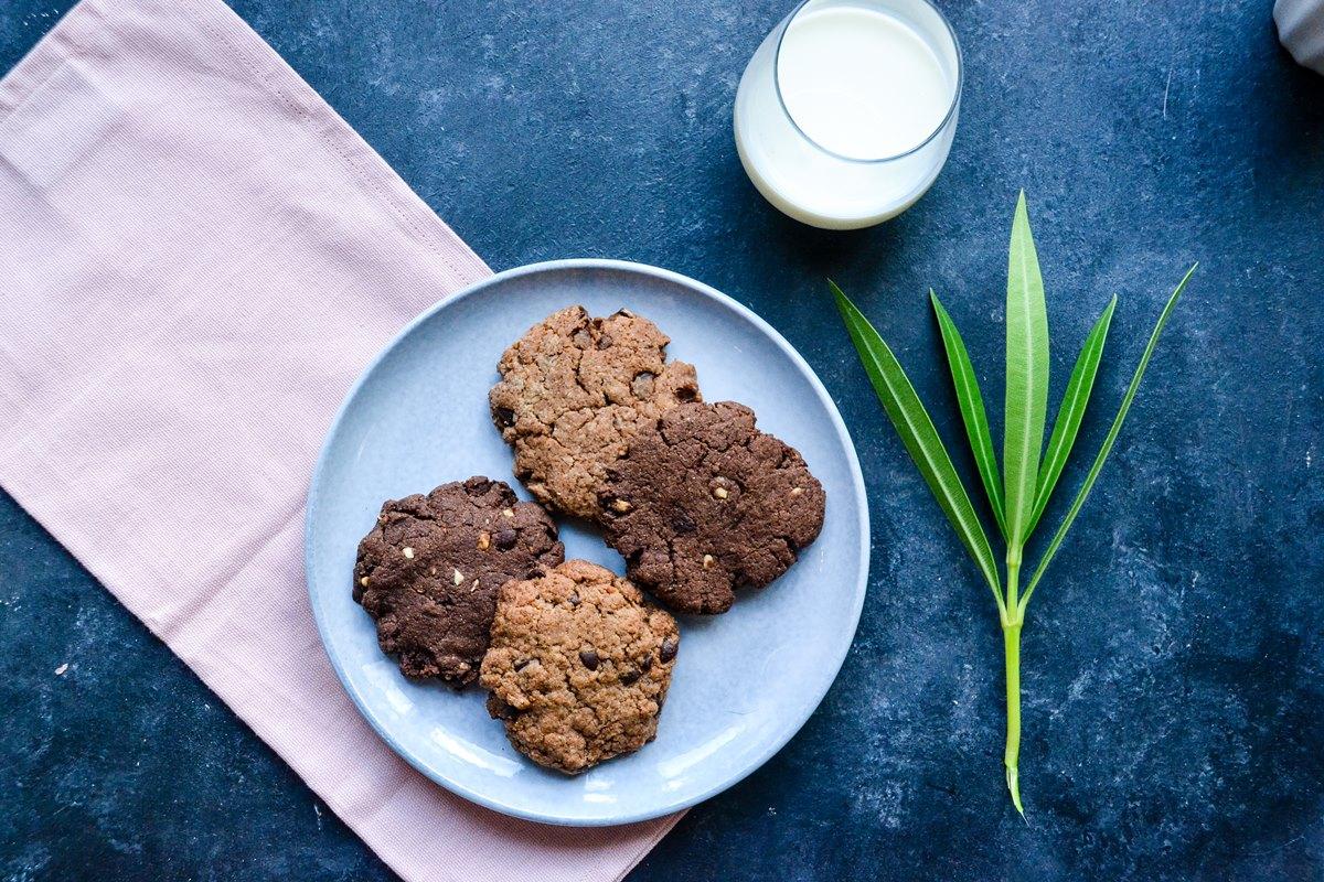 Cookies pépites de chocolat et choco noisette végans