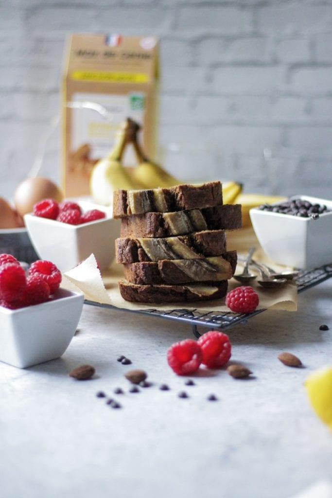Présentation produit banane bread tranché