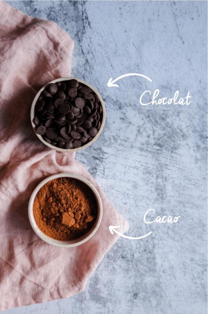Présentation chocolat et cacao verticale