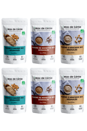 Pack farines : amande, noisette et cacahuète