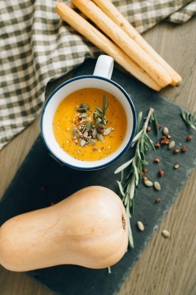 soupe courge et lentilles