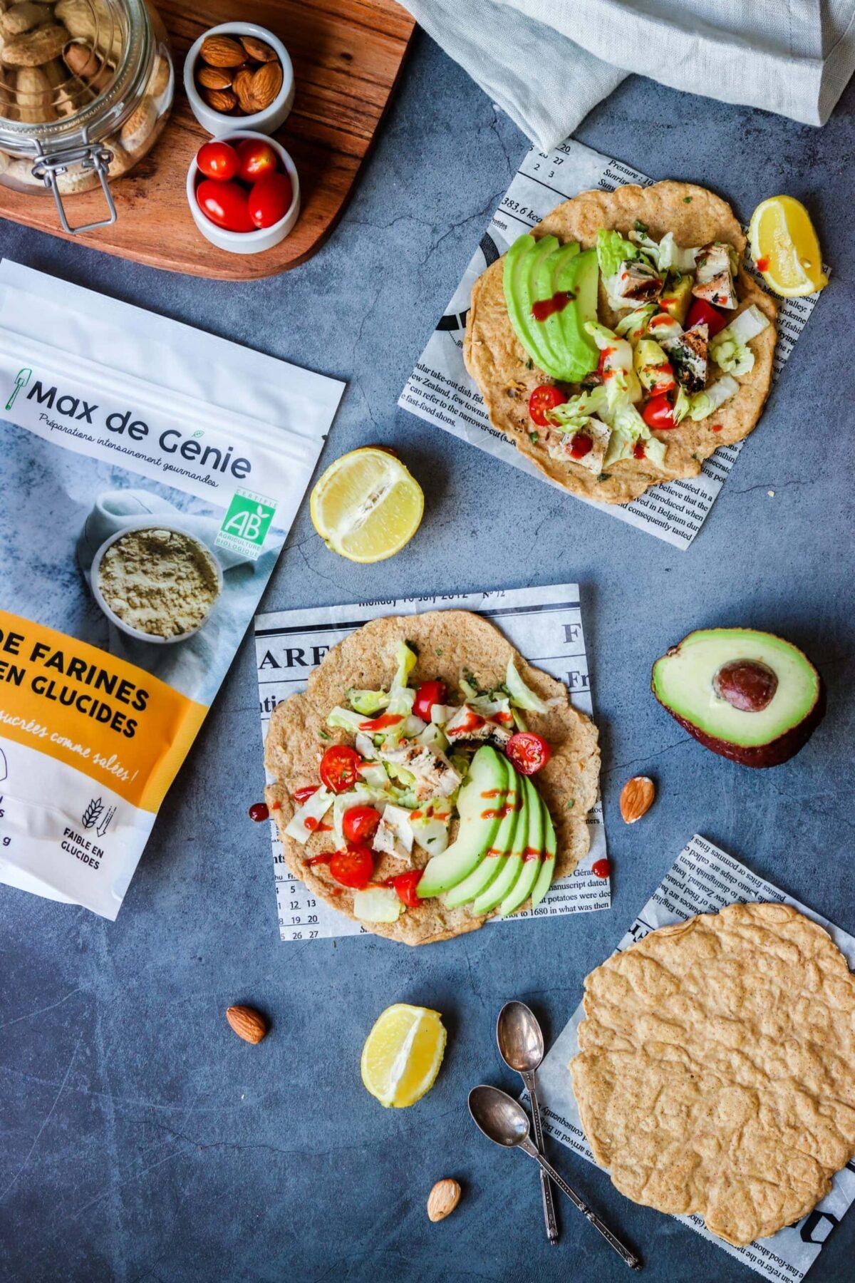 Tortillas faibles en glucides vues de haut