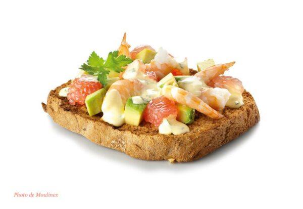 Toast avocat, crevette et pamplemousse - Moulinex