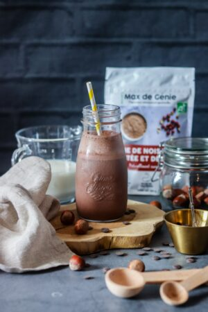 milkshake protéiné à la farine de noisette